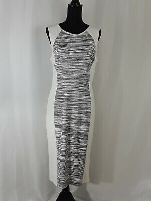 H and M Women's Size Large Sleeveless Cream Navy Stripe Sheath Dress