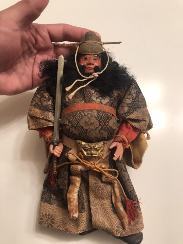 Rare Antique Japanese Doll Samurai with a Sword Circa 1800