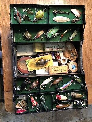 Vintage wooden tackle box with rare HTF antique lures Chapman-MUST SEE!!!!