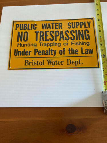 traps no trapping metal sign trespassing public water supply Bristol Connecticut