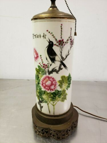 Antique Chinese Asian Famille Rose Porcelain Cylinder Chrysanthemum & Bird Lamp