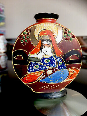 Vintage Japanese Oriental Small Satsuma Moriage Handmade Art Pottery Bud Vase