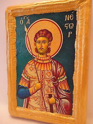 Saint Nestor Agios Nestoras Rare Greek Eastern Orthodox Icon Portrait Art