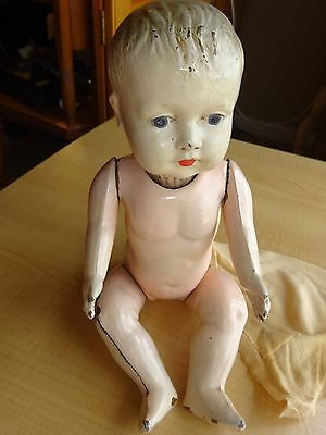 """Antique All-Metal Baby Doll w/ Painted Eyes  11"""""""