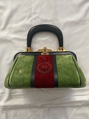 Authentic Vintage Roberta Di Camerino Bagonghi Hand bag Green Red