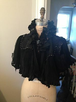Antique Victorian Cape Capelet Silk Taffeta Beads Goth Ladies Cutter