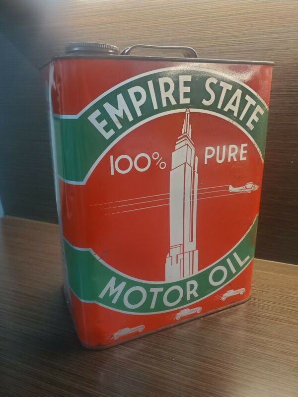 Vintage EMPIRE STATE 100% Pure SAE 10 MOTOR OIL 2 GALLON CAN INDIANAPOLIS
