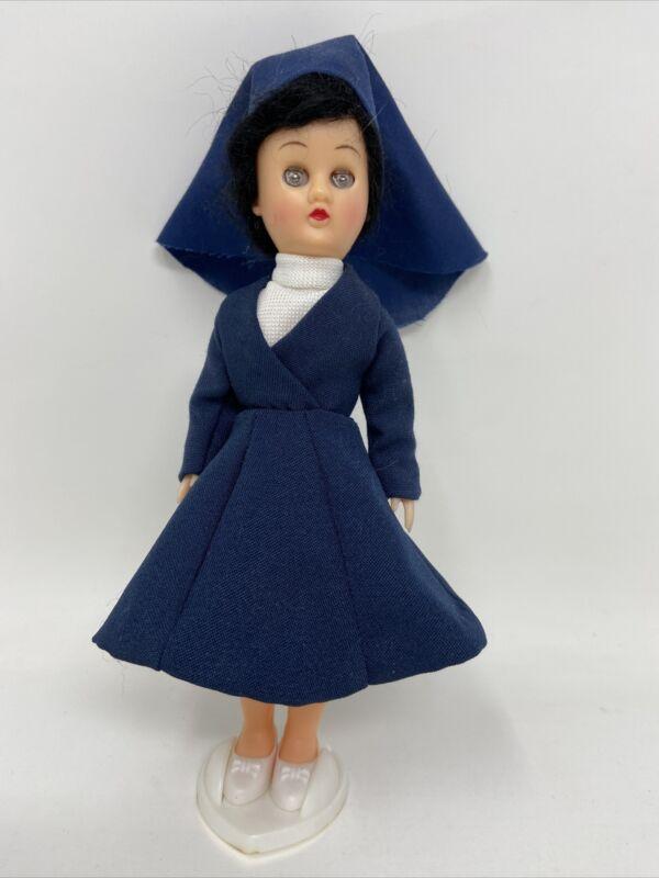 "Vintage 8"" Nursing Nun Doll Moving Eyes Blue Habit w/ Stand Made in Hong Kong"