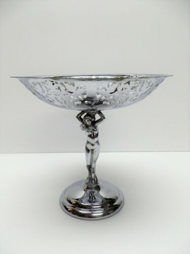 Farber Krome Kraft Chrome Nude Lady Pedestal Compote Dish with Edge Pierced