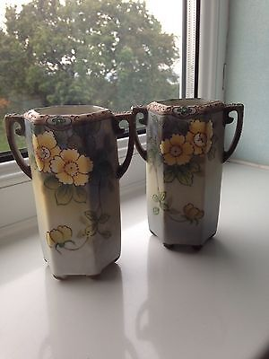 Nice pair of Vintage hand painted Noritake vases.13 Cm High