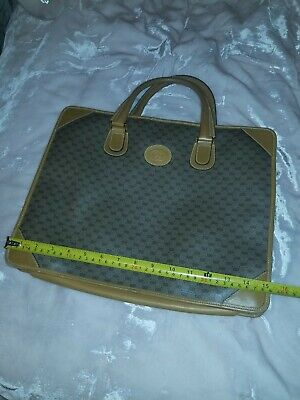 "VINTAGE GUCCI BRAWN & TAN TOTE /LAPTOP BAG ""PRE-OWNED, OK, HAS SOME STAINS!"