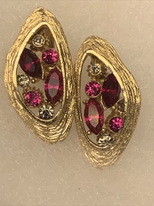 Vintage Coro Signed Gold Tone Earrings With Rhinestones