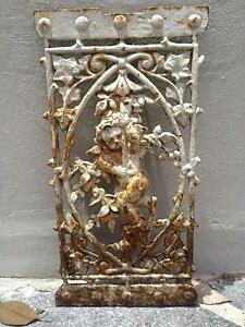 Antique French cast iron/wrought iron cupid plaque garden panel Lane Cove Lane Cove Area Preview