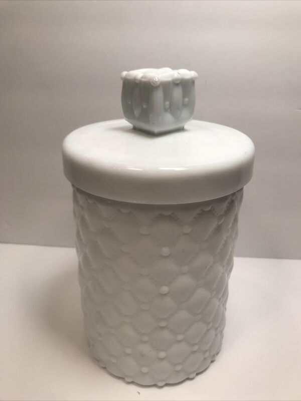 VINTAGE WHITE MILK GLASS CANNISTER QUILTED DIAMOND DESIGN LIDDED  8