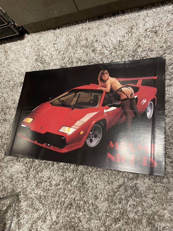 1980's Vintage Lamborghini Countach Lady Poster 24x37.5  Miami Nights Vice