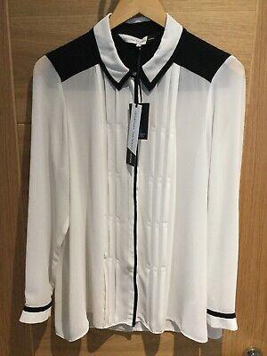 JONATHAN SAUNDERS EDITION UK14 Ivory/ Black Semi Sheer Shirt NWT £45