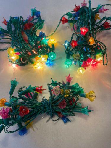 3 Sets of vintage 35 Multi Color Lights Flower Petals/ As Is