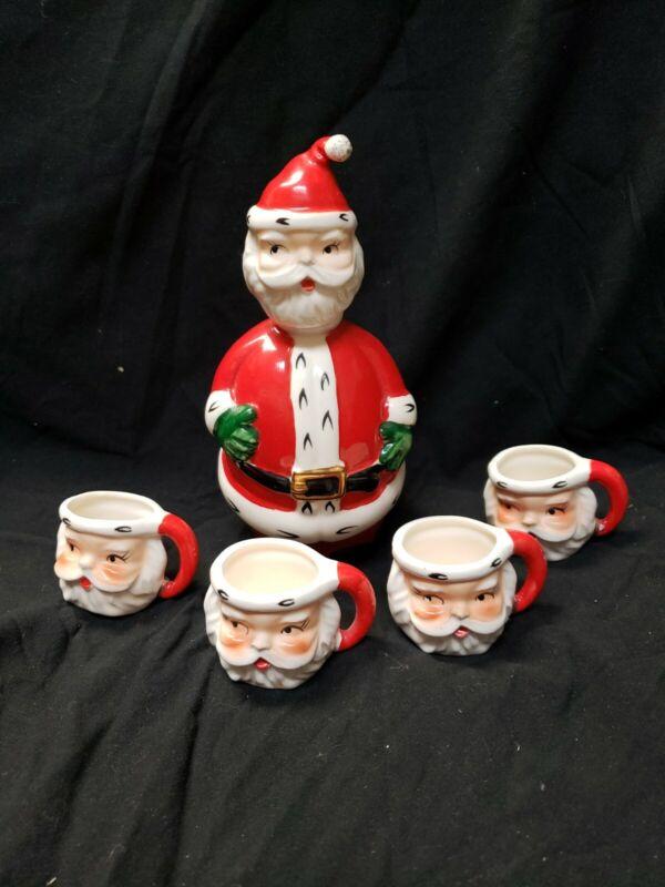 Lefton Santa decanter set with 4 shot glass/mugs vintage Japan 1383