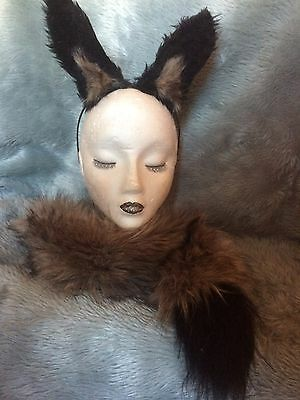 Fake Dog Tail (Wild Hunting Dog Ears And Clip On Tail Fancy Dress Fake Fur One Size Unisex New)