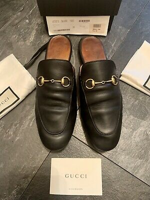 Gucci Authentic Black Princeton Leather slip on slide mules size EU 39 UK 6