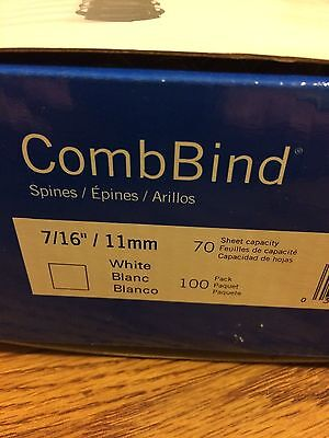Gbc Combbind Spines 716 White Binding Combs 70 Sheet Capacity 100 Count New