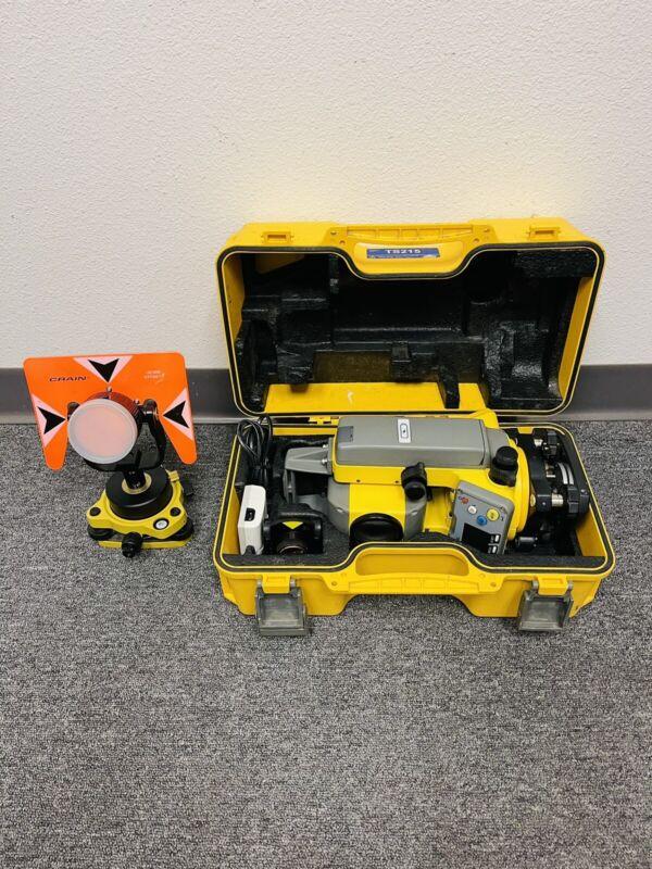 """Trimble TS215 5"""" Mechanical Total Station Set w/Case, Batteries & Prism Nikon"""