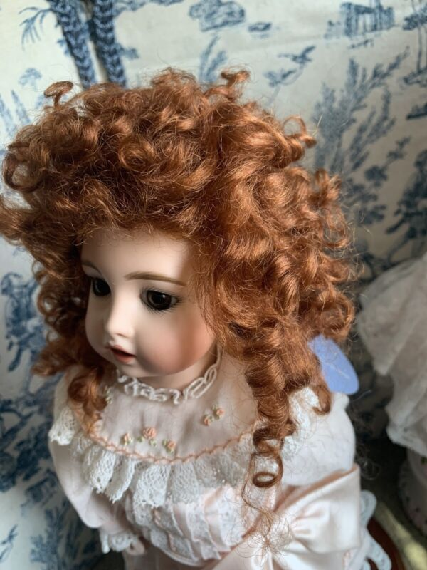 """MOHAIR doll wig size 7-8"""", Curls Charlotte Auburn . Shiny New Mohair Doll Wig"""