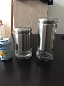 Stainless steel and glass food canisters