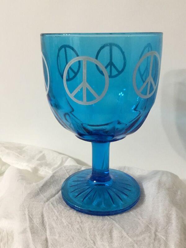 Vintage Peace Sign Beer Glass Schooner Blue Goblet Thumbprint Stem Heavy Hippie