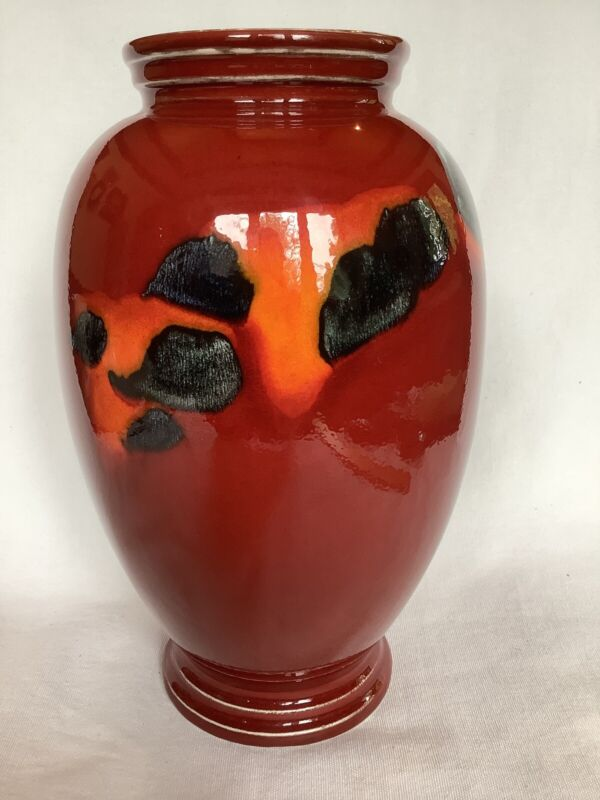 """Poole Pottey 9"""" Red Vase Made in England"""