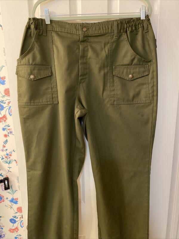 Boy Scouts of America Elastic 6 Pocket Cargo Pants Size 40 Waist 33.5 Inseam