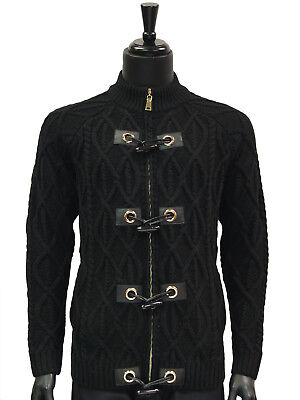 Mens Black Cable Knit Leather Toggle Button Luxurious Cardigan Bulky Sweater ()