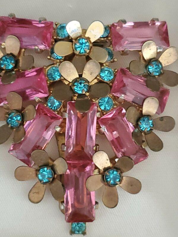 Antique Art Deco Filigree Gilt 1920s Gem Prong Dress Scarf Coat Clip Pink Glass