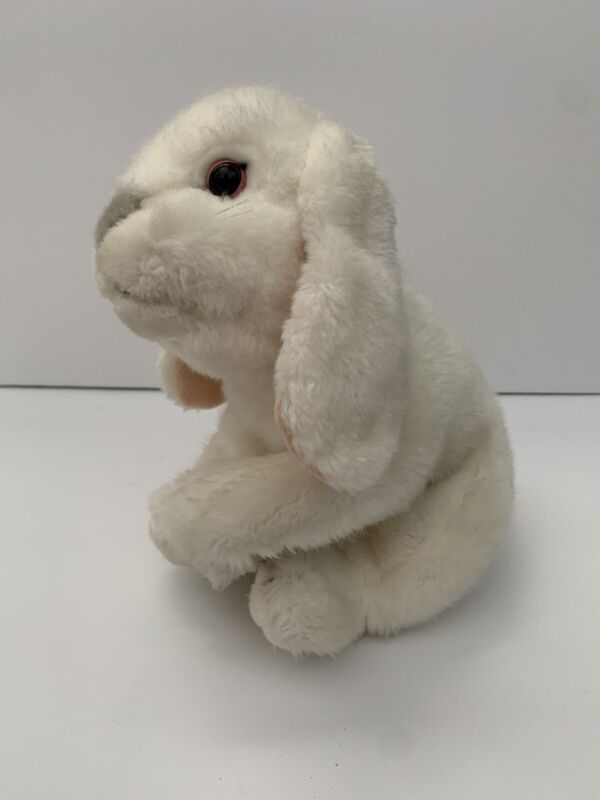 """Toys R Us Animal Alley White Bunny Rabbit Gray Nose Small Stuffed Plush Toy 10"""""""