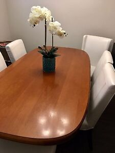 Solid,one-piece mahogany table (6 matching brown armchairs)
