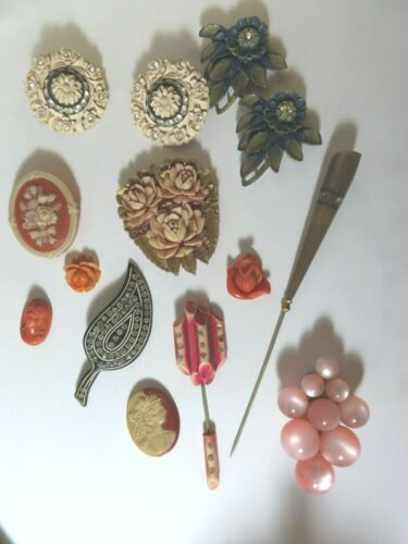 VTG Bakelite And Acrylic Fur Clips, JOBOT, Earrings, Pin And Loose PCS