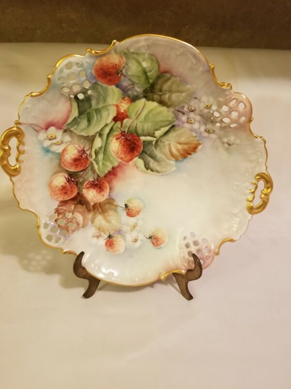 **GERMAN* HAND* PAINTED *OPEN* WEAVE** PLATE** WITH** STRAWBERRIES**