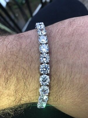 Mens 35ct Lab Diamond Single Row Tennis Bracelet Solid 925 Sterling Silver 7mm