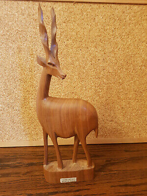 Vintage Teak Wooden Gazelle Deer Antelope Hand Carved Made In Kenya