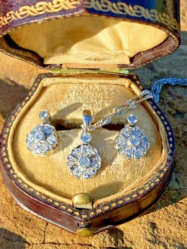 Platinum and Diamond Art Deco Pendant and Earrings Set See Videos Antique Estate