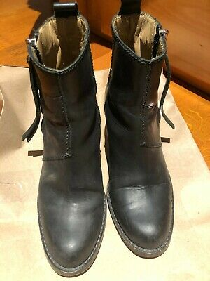 Acne Women Round Toe Zip Block Heel Ankle Boots Black Leather EUR 35 US 5