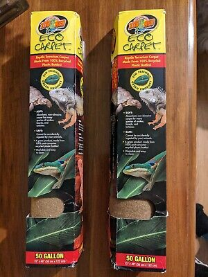 "(TWO) Zoo Med Eco Carpet 50 Gallon-15"" x 48"" - Reptile Terrarium Liner - Brown"