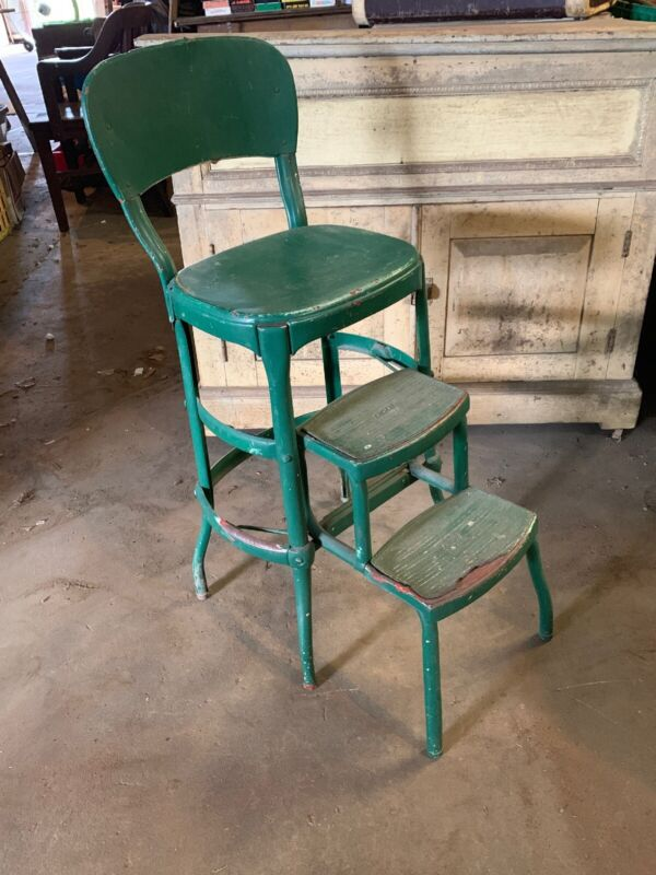 Vtg Mcm 1960s COSCO Green KITCHEN STEP STOOL CHAIR NICE Great Condition
