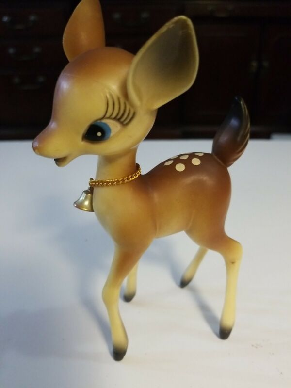 "Vintage Christmas 6 3/4"" Plastic Big Eye Reindeer Fawn Bambi 60's Neck Bells"
