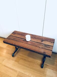 AUTHENTIC VINTAGE RECLAIMED WOOD COFFEE SIDE END TABLE / PIPE