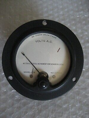 1 X Nos Nib Weston Model 476 Vintage Panel Meter 0-130 Vac - Blank Scale - 3.5