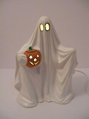 Vtg Halloween Ceramic Ghost With Pumpkin Light, Byron Mold 1972 - loc 5