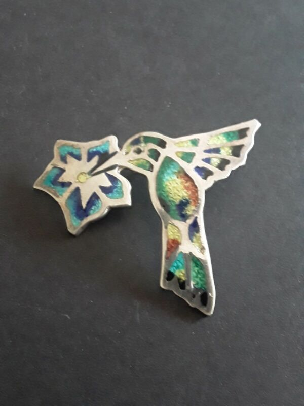 Vintage Mexico Hummingbird Pendant Sterling Silver Inlaid Enamel TF 32