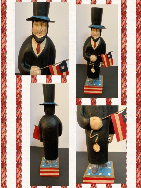 Patriotic Americana Folk Art ABRAHAM LINCOLN WOODEN VINTAGE 4th July UNCLE SAM