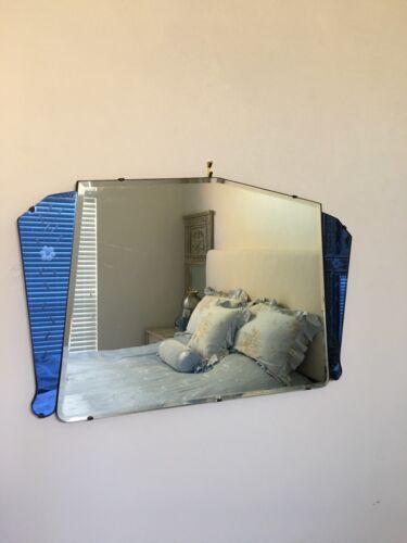 ENGLISH ANTIQUE Art Deco COBALT BLUE WALL MIRROR